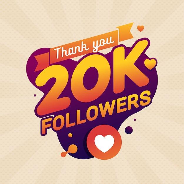 Vielen dank, 20.000 anhänger, glückwunschbanner Premium Vektoren