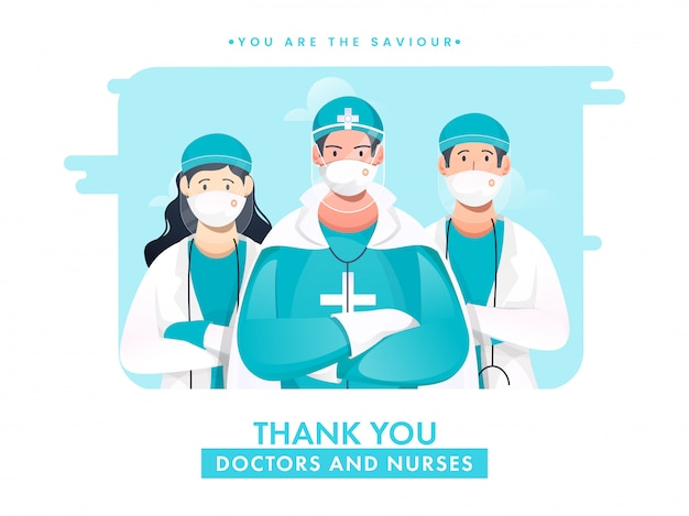 Vielen dank ärzte und krankenschwestern sind unser retter für den kampf gegen coronavirus. Premium Vektoren