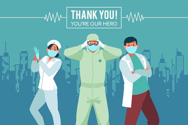 Vielen dank, ärzte und krankenschwestern Kostenlosen Vektoren