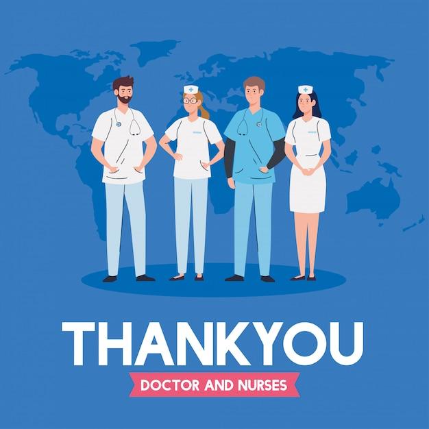 Vielen dank an ärzte und krankenschwestern, die in krankenhäusern arbeiten, ärzte und krankenschwestern, die gegen das illustrationsdesign des coronavirus covid 19 kämpfen Premium Vektoren