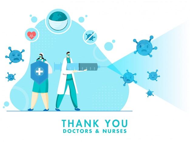 Vielen dank an arzt und krankenschwester, die einen medizinischen sicherheitsschild mit spritzenspray zur bekämpfung des coronavirus halten. Premium Vektoren