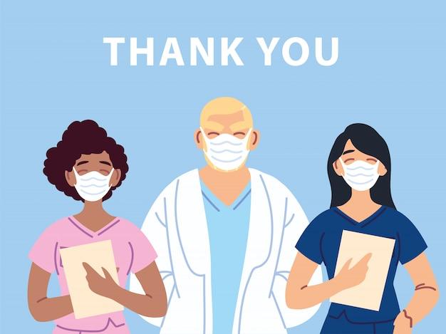 Vielen dank an den arzt, die krankenschwestern und das medizinische personal, die gegen das coronavirus kämpfen Premium Vektoren