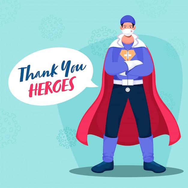 Vielen dank an den superhelden-doktor, der das psa-set auf pastellblauem hintergrund für den kampf gegen das coronavirus trägt (). Premium Vektoren