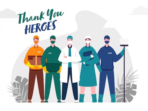 Vielen dank an doctor, nurse, sweeper, delivery & courier men heroes, die während des coronavirus () - ausbruchs arbeiten. Premium Vektoren