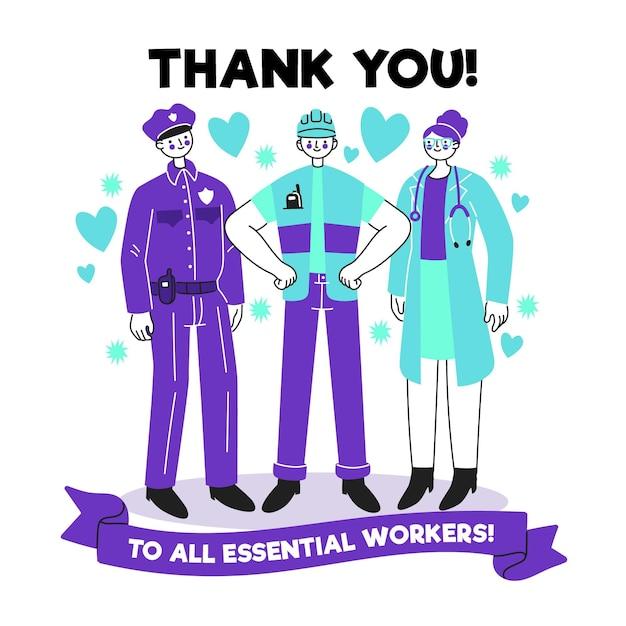 Vielen dank an wichtige mitarbeiter Premium Vektoren