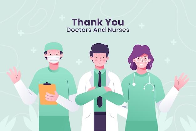 Vielen dank, dass sie ärzte und krankenschwestern konzept Premium Vektoren