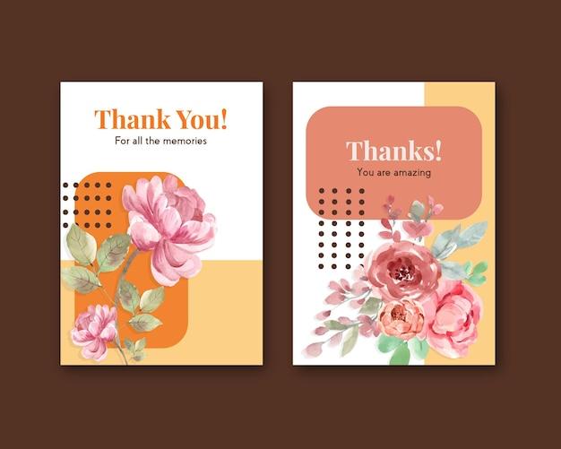 Vielen dank, dass sie kartenschablone mit liebe blühenden konzeptdesign aquarellillustration Kostenlosen Vektoren