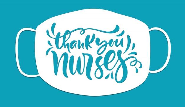 Vielen dank, dass sie krankenschwestern text, illustration für den internationalen tag der krankenschwestern beschriften Premium Vektoren
