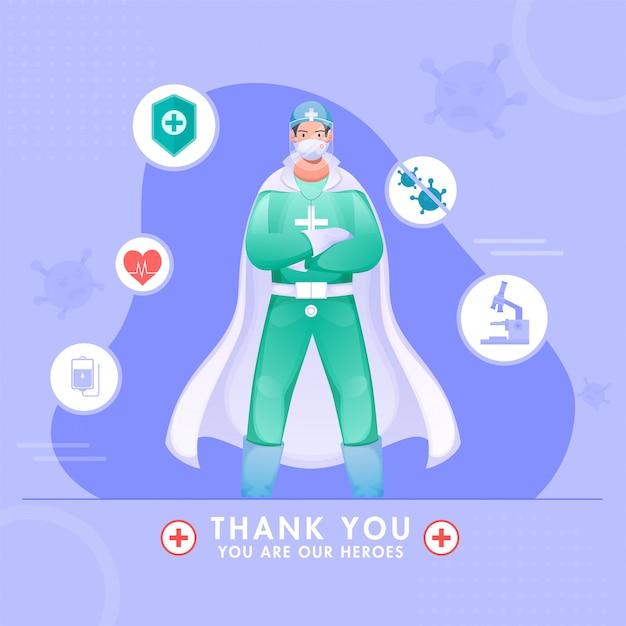 Vielen dank, dass sie superhelden-doktor tragen psa-kit für die bekämpfung des coronavirus. Premium Vektoren