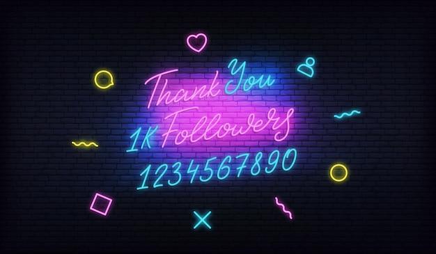Vielen dank followers neon banner Premium Vektoren