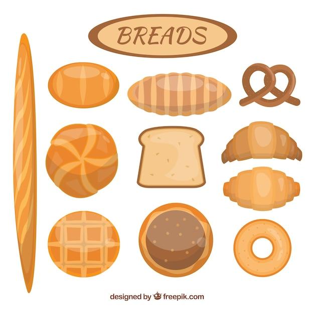 Vielfalt an köstlichen brote Kostenlosen Vektoren