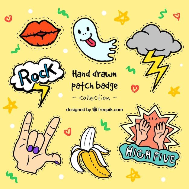 Vielfalt der schönen hand gezeichnet patches Kostenlosen Vektoren