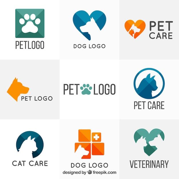 Vielfalt der Tierarzt Logo-Vorlagen Kostenlose Vektoren