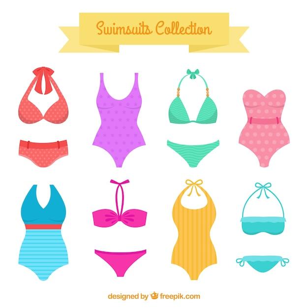 Vielfalt von badeanzügen und bikinis Kostenlosen Vektoren