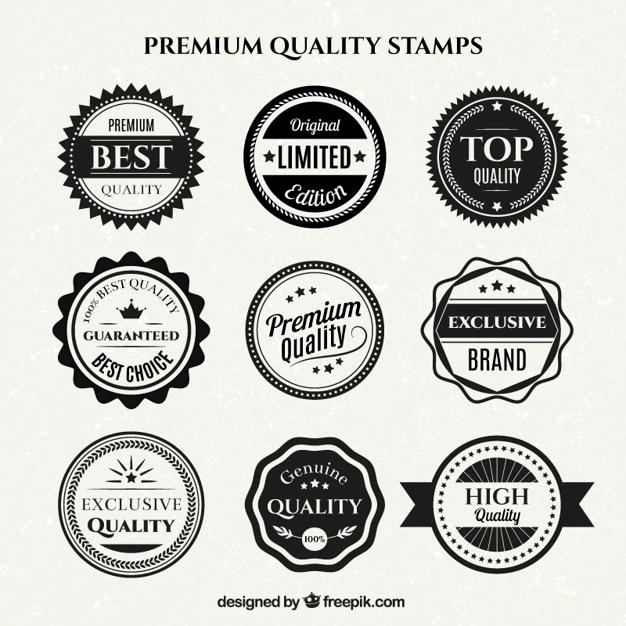 Vielfalt von vintage-weiße und schwarze qualität abzeichen Premium Vektoren
