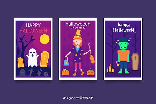 Vielzahl der flachen halloween-kartensammlung Kostenlosen Vektoren