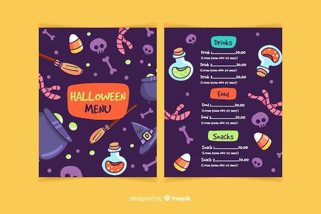 Vielzahl der halloween-elementmenüschablone Kostenlosen Vektoren