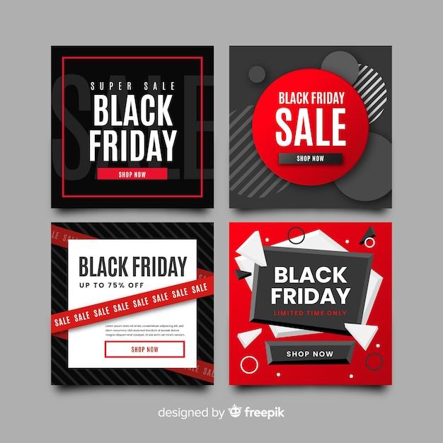 Vielzahl der schwarzen freitag instagram beitragssammlung Kostenlosen Vektoren
