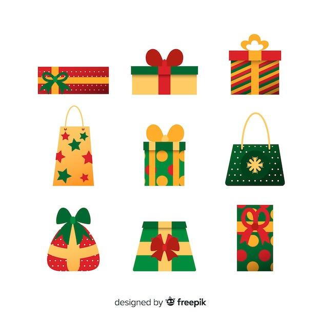 Vielzahl der weihnachtsgeschenk-taschensammlung Kostenlosen Vektoren