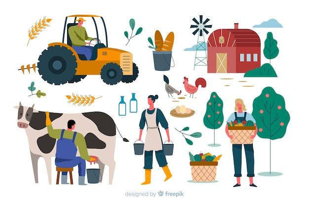 Vielzahl von aktivitäten von landarbeitern Kostenlosen Vektoren