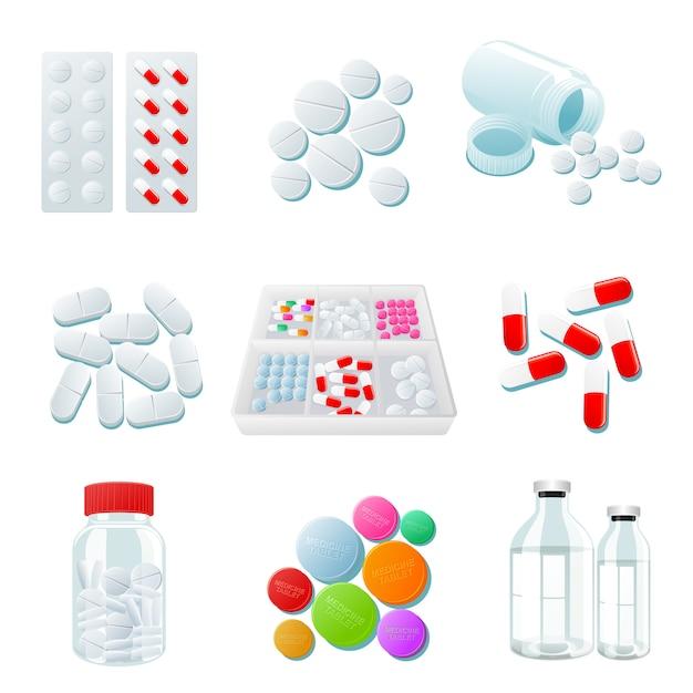 Vielzahl von drogen und pillen, breite palette Premium Vektoren