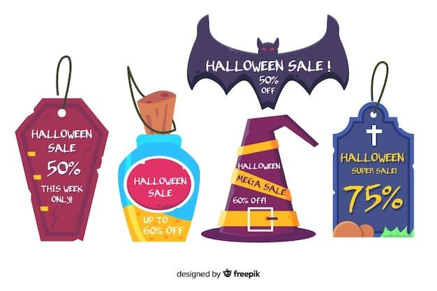 Vielzahl von etiketten für halloween-verkäufe Kostenlosen Vektoren
