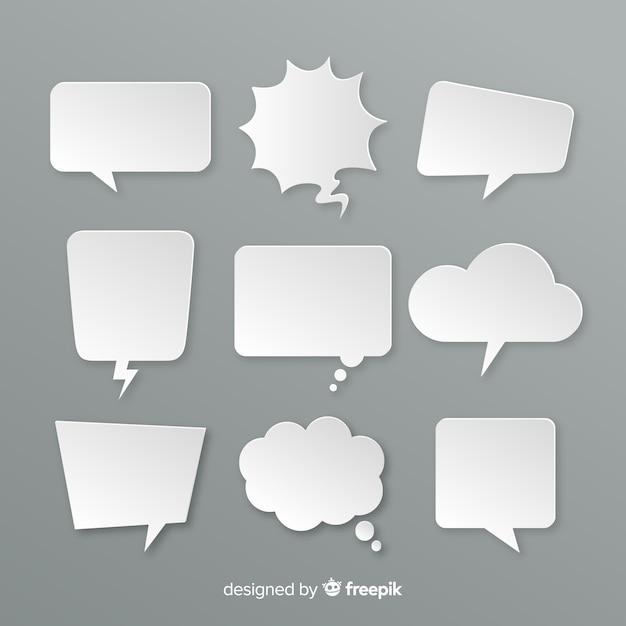Vielzahl von flachen designchatblasen in der papierart Kostenlosen Vektoren