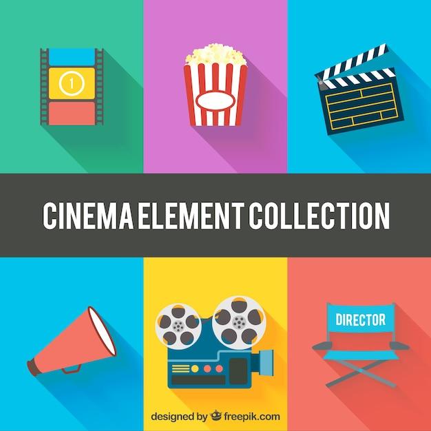 Vielzahl von flachen kino elemente Kostenlosen Vektoren