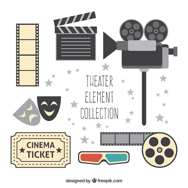 Vielzahl von flachen theater objekte Kostenlosen Vektoren