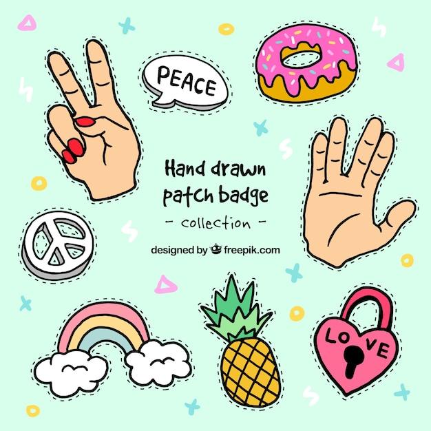 Vielzahl von hand gezeichnet patches Kostenlosen Vektoren