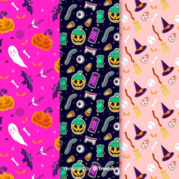 Vielzahl von hintergrundfarben mit halloween-muster Kostenlosen Vektoren
