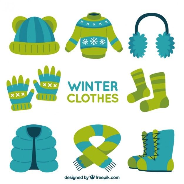 Vielzahl von komfortablen winterkleidung Kostenlosen Vektoren
