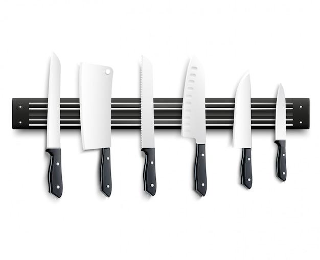 Vielzahl von küchenmessern mit schwarzem griff auf magnetstreifen auf weißer vektorillustration des hintergrundes 3d Kostenlosen Vektoren