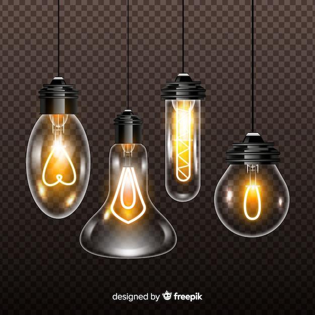 Vielzahl von realistischen glühlampen auf transparentem hintergrund Kostenlosen Vektoren