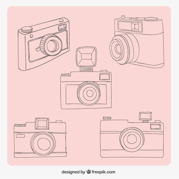 Vielzahl von skizzen kameras Kostenlosen Vektoren