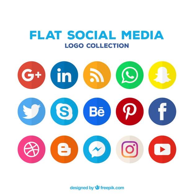 Vielzahl von social-media-farbige symbole Kostenlosen Vektoren