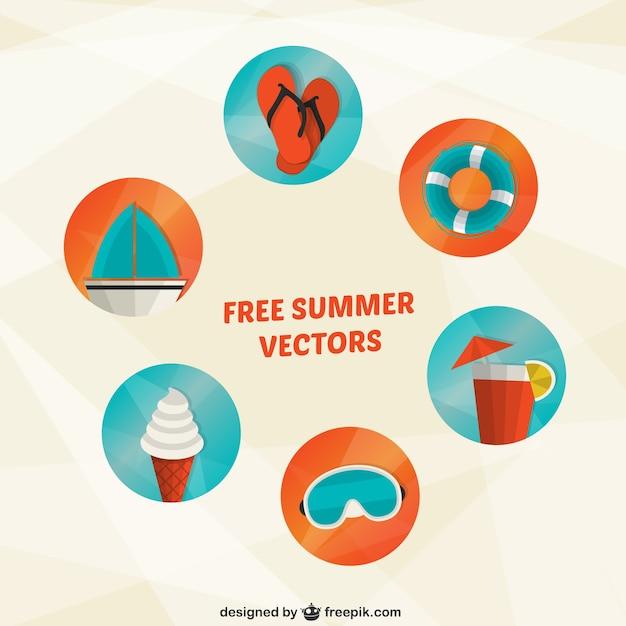 Vielzahl von sommer-symbole Kostenlosen Vektoren
