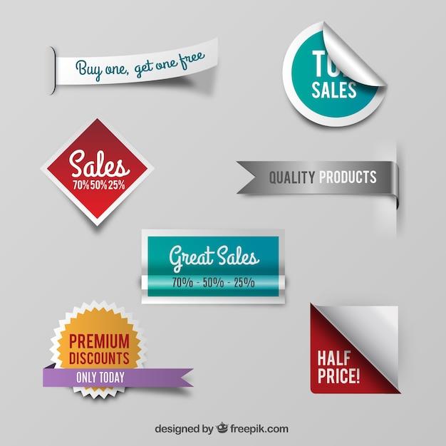 Vielzahl von verkauf abzeichen Kostenlosen Vektoren