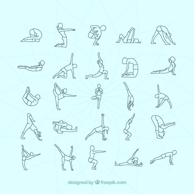 Vielzahl Von Yoga-Stellungen  Download Der Kostenlosen Vektor