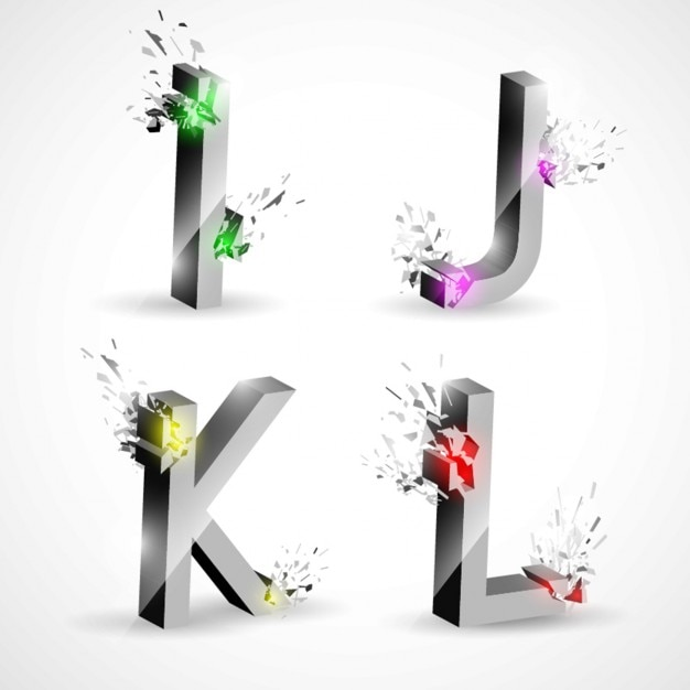 Vier alphabet buchstaben design Kostenlosen Vektoren