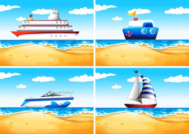 Vier arten von schiffen auf dem meer Premium Vektoren