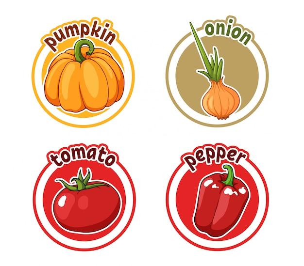 Vier aufkleber mit unterschiedlichem gemüse. kürbis, zwiebel, tomate und pfeffer. Premium Vektoren
