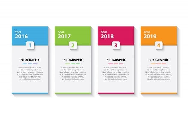 Vier bunte timeline infographik entwurfsvorlage Premium Vektoren