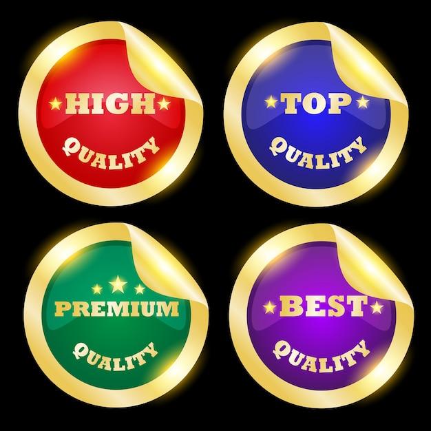 Vier goldene abzeichen auf schwarzem hintergrund Premium Vektoren