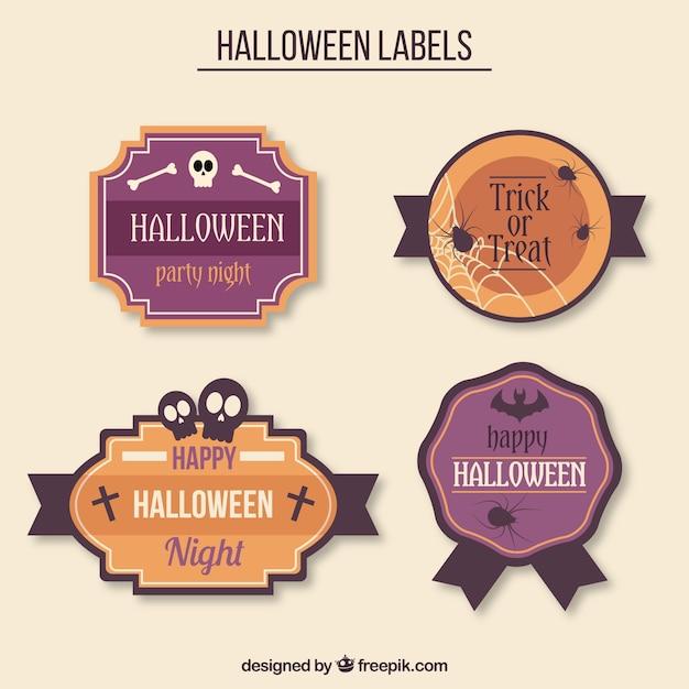 Vier halloween Abzeichen mit gruseligen Artikel | Download der ...