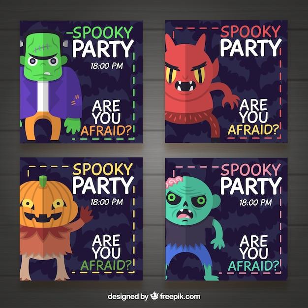 vier halloween-einladungen | download der kostenlosen vektor, Einladung
