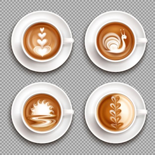 Vier latte art draufsicht-symbol gesetzt mit weißen kunstkompositionen auf der oberen illustration Kostenlosen Vektoren