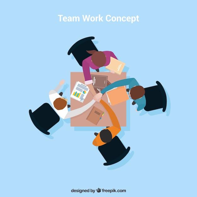 Vier leute, teamarbeit Kostenlosen Vektoren