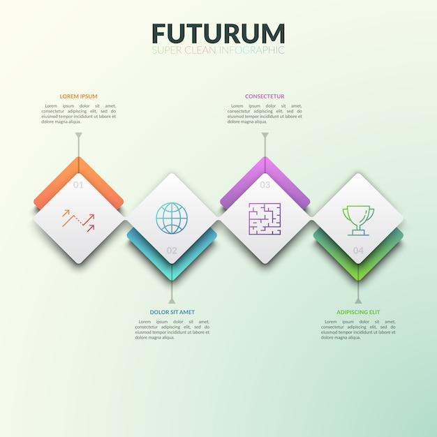 Vier nacheinander verbundene rechteckige elemente mit zahlen, dünnen linien und textfeldern. Premium Vektoren
