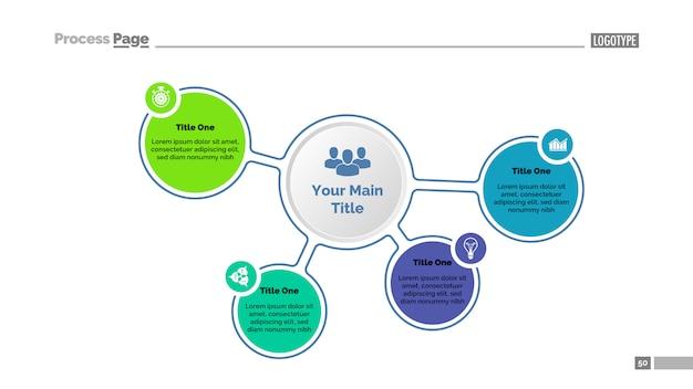 Vier optionen der hauptidee diagrammvorlage. geschäftsdaten. grafik, diagramm Kostenlosen Vektoren